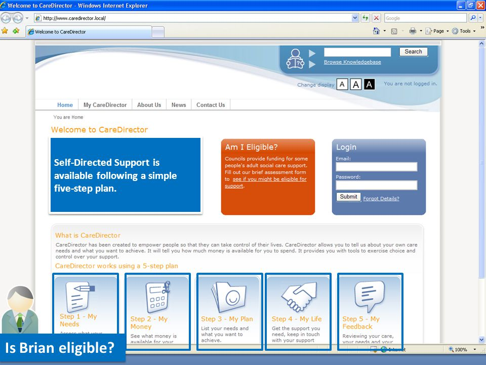 Brian can also access a knowledgebase to learn more about planning and managing his support.