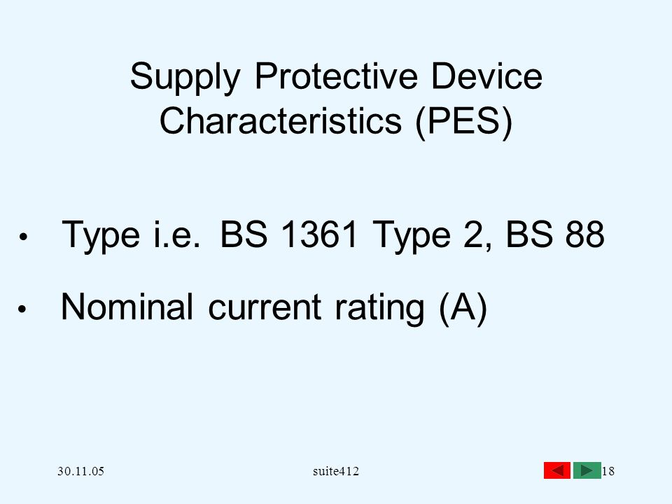 30.11.05suite41218 Supply Protective Device Characteristics (PES) Type i.e.