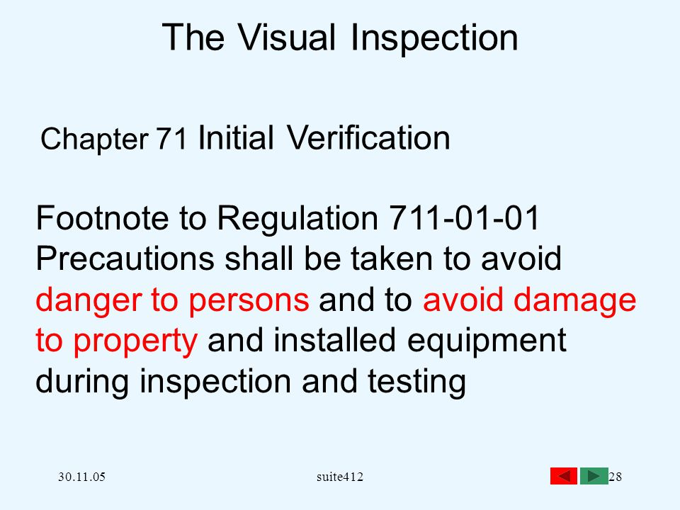 30.11.05suite41228 The Visual Inspection Chapter 71 Initial Verification Footnote to Regulation 711-01-01 Precautions shall be taken to avoid danger t
