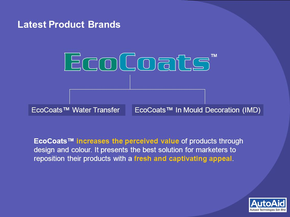Latest Product Brands EcoCoats™ increases the perceived value of products through design and colour.