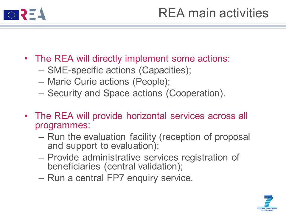 REA main activities The REA will directly implement some actions: –SME-specific actions (Capacities); –Marie Curie actions (People); –Security and Space actions (Cooperation).