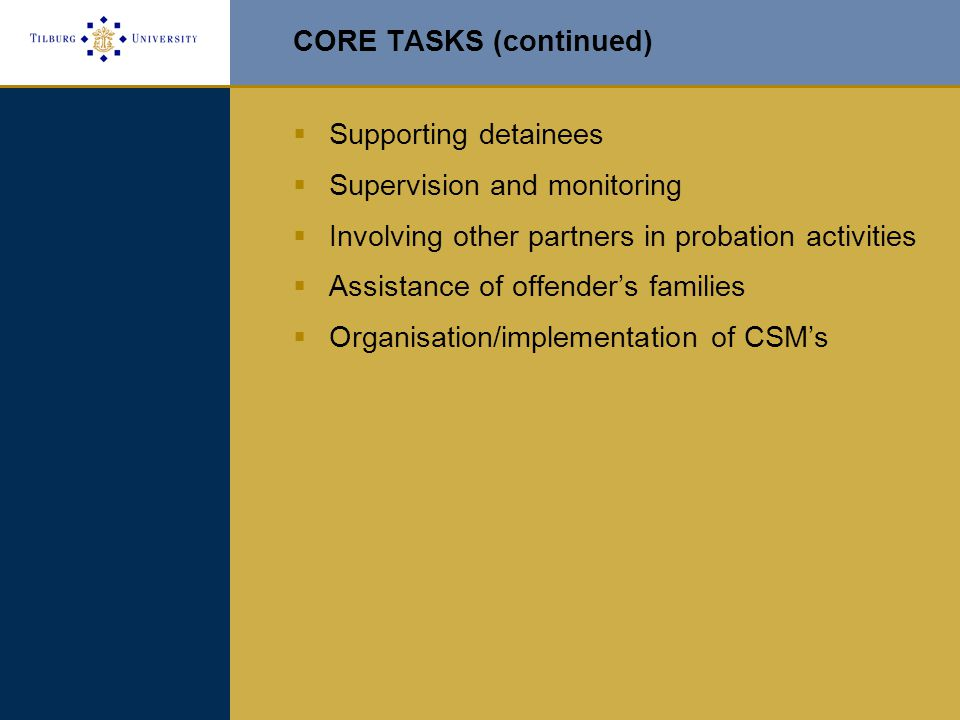CORE TASKS (continued)  Supporting detainees  Supervision and monitoring  Involving other partners in probation activities  Assistance of offender's families  Organisation/implementation of CSM's