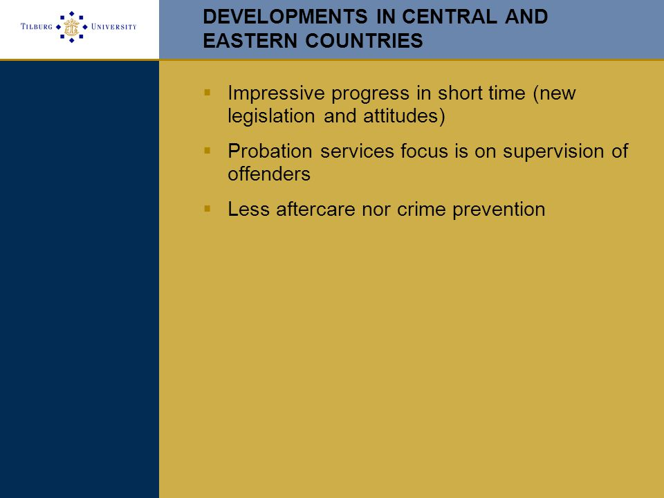 DEVELOPMENTS IN CENTRAL AND EASTERN COUNTRIES  Impressive progress in short time (new legislation and attitudes)  Probation services focus is on supervision of offenders  Less aftercare nor crime prevention