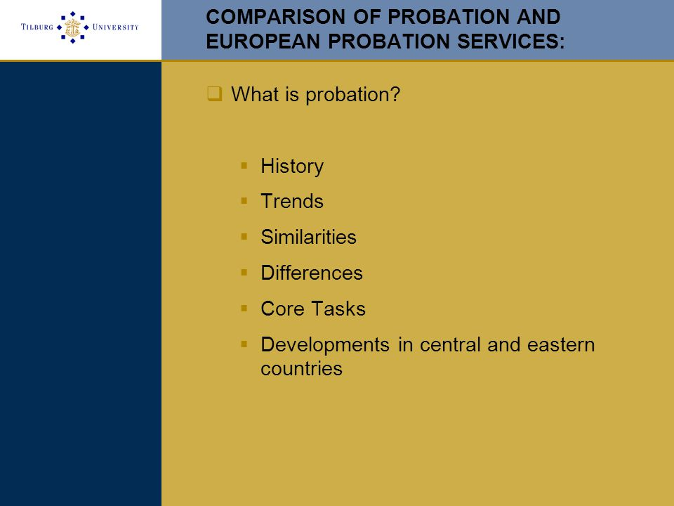 COMPARISON OF PROBATION AND EUROPEAN PROBATION SERVICES:  What is probation.