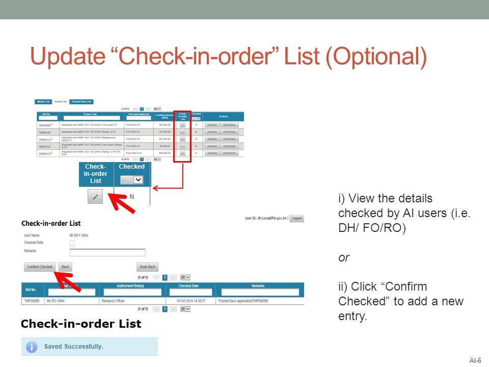 Update Check-in-order List (Optional) i) View the details checked by AI users (i.e.