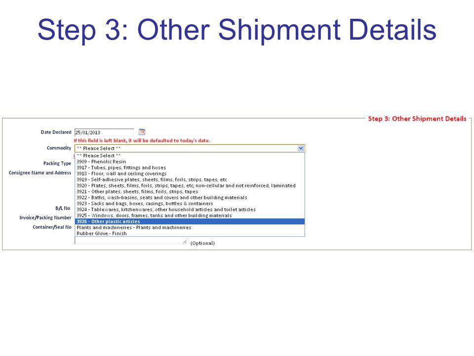 Step 3: Other Shipment Details