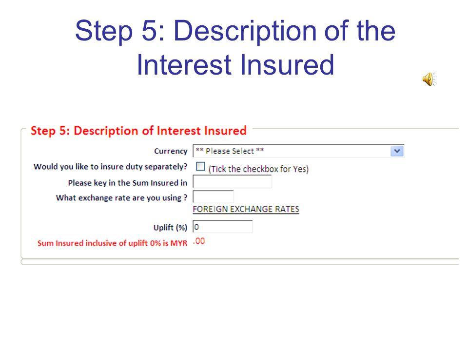 Step 5: Description of the Interest Insured