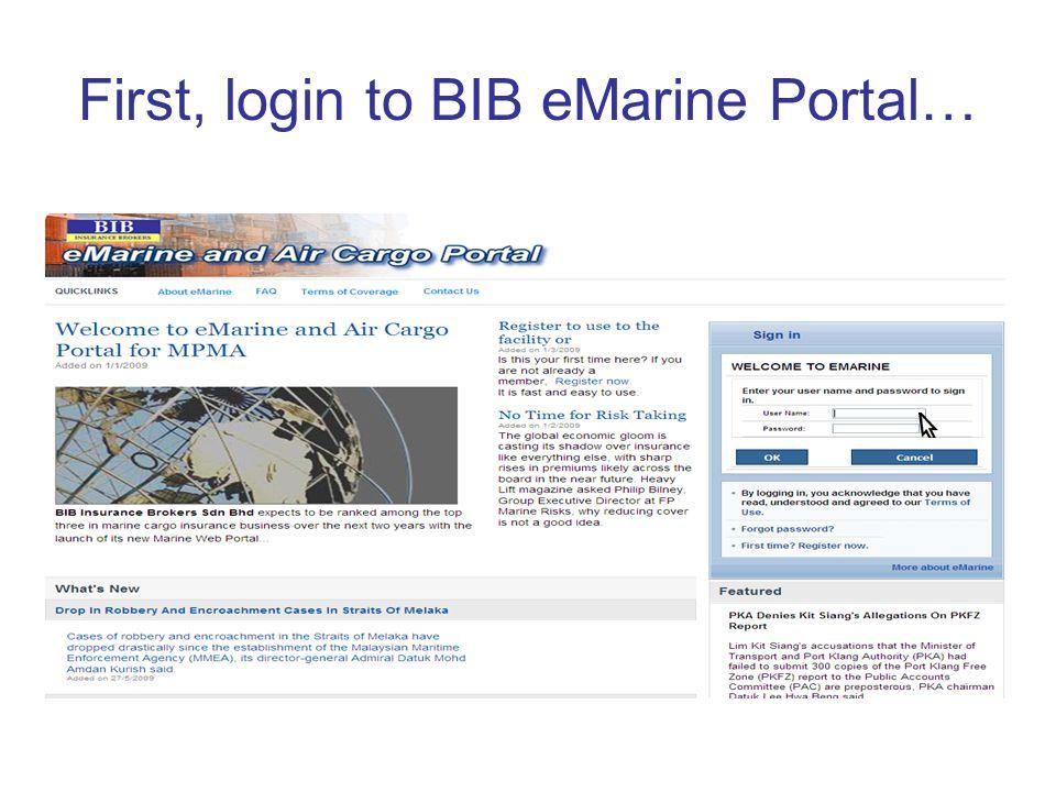 First, login to BIB eMarine Portal…