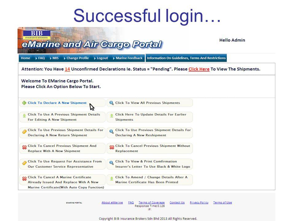 Successful login…