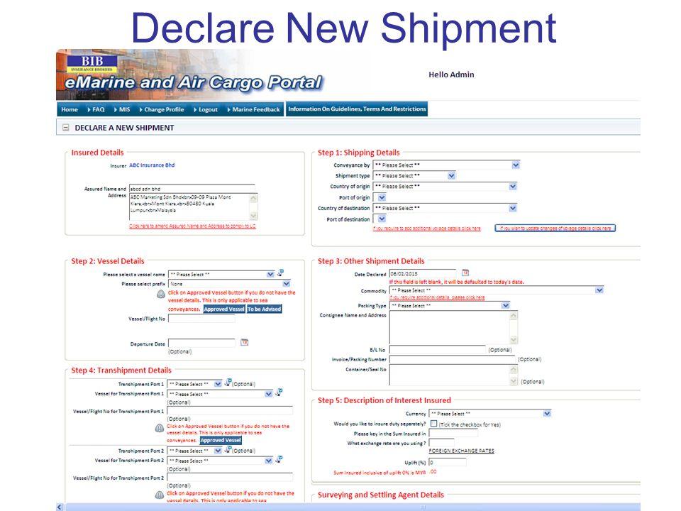 Declare New Shipment