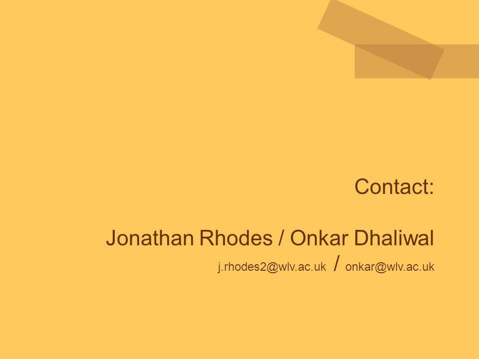 Contact: Jonathan Rhodes / Onkar Dhaliwal j.rhodes2@wlv.ac.uk / onkar@wlv.ac.uk