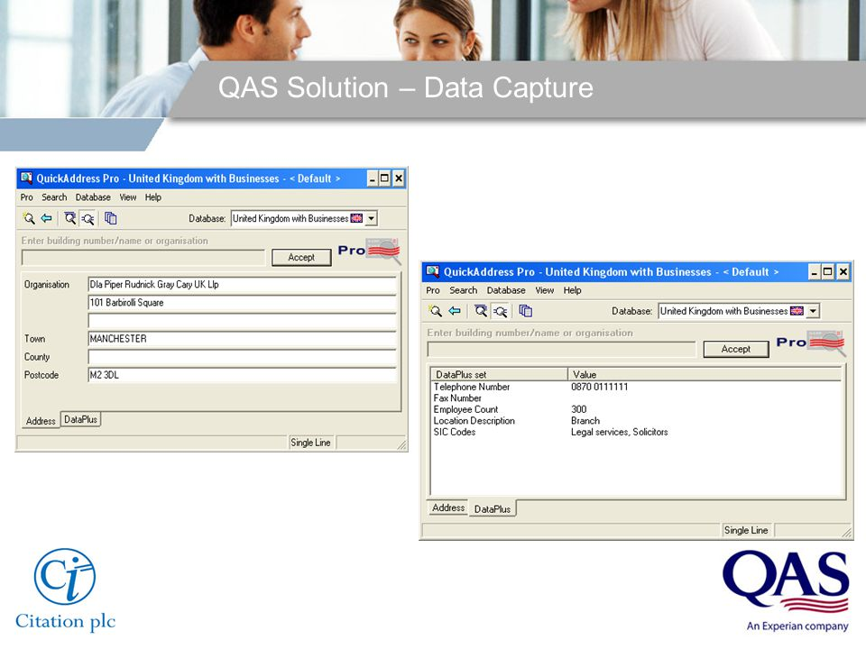 QAS Solution – Data Capture