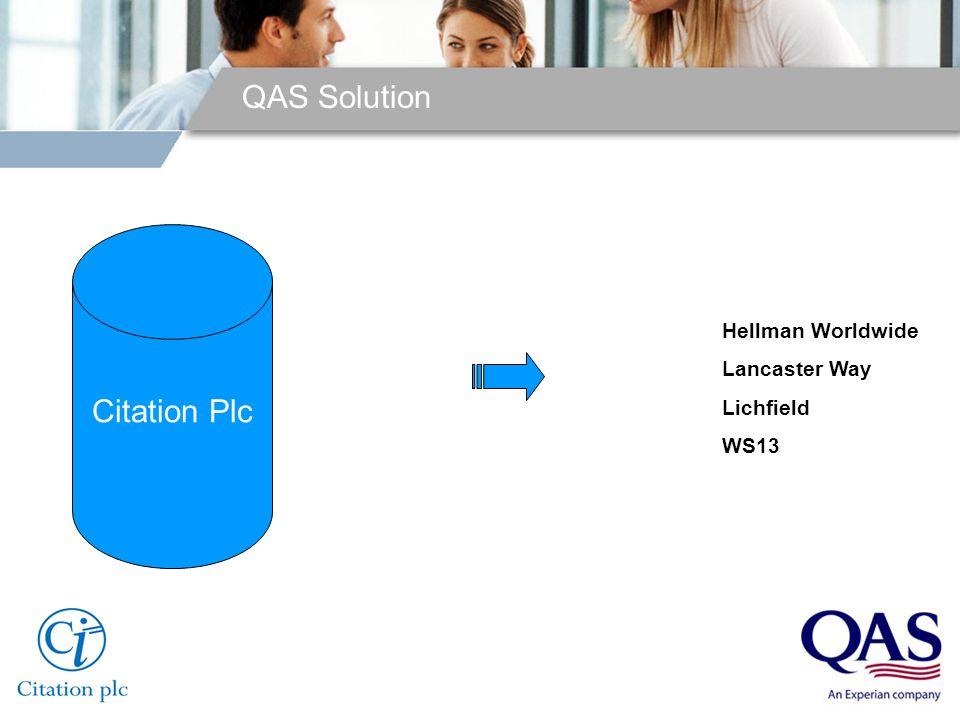 QAS Solution Quick Address Batch Citation Plc Hellman Worldwide Lancaster Way Lichfield WS13
