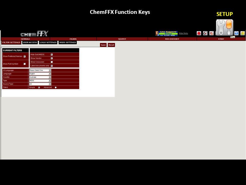 ChemFFX Function Keys SETUP