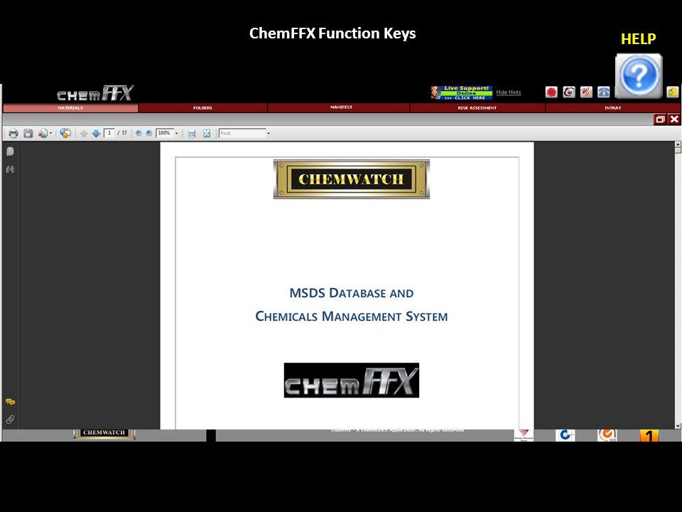 ChemFFX Function Keys HELP