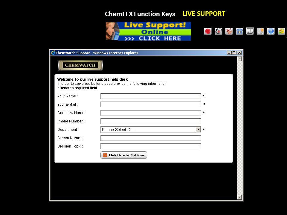ChemFFX Function Keys LIVE SUPPORT