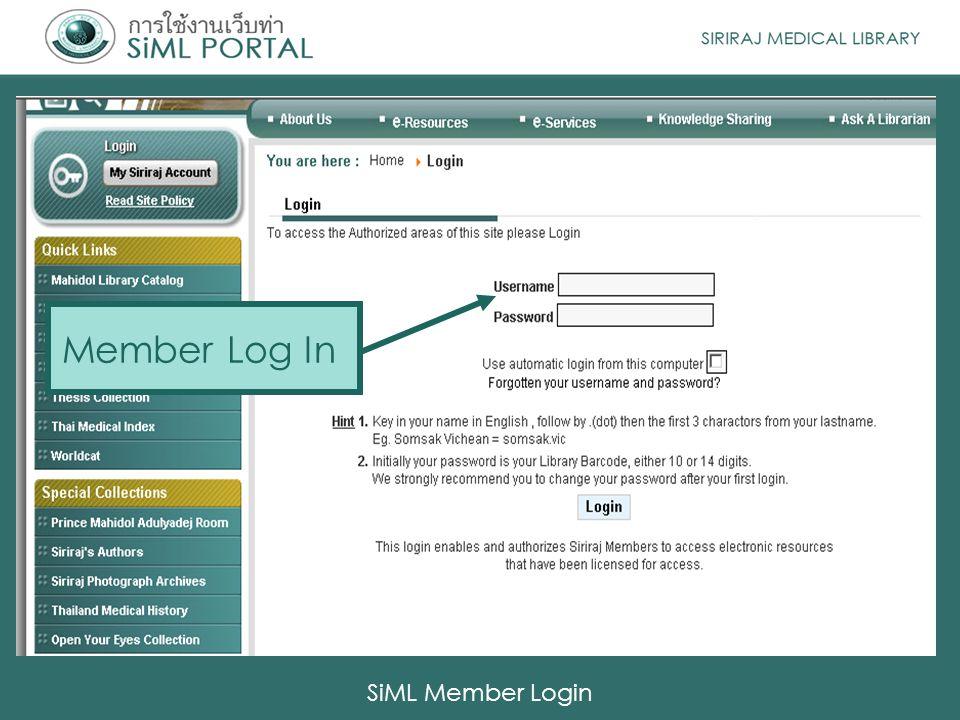 Member Log In SiML Member Login