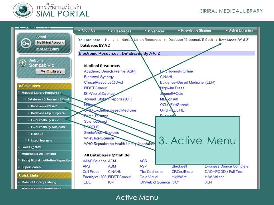 3. Active Menu Active Menu