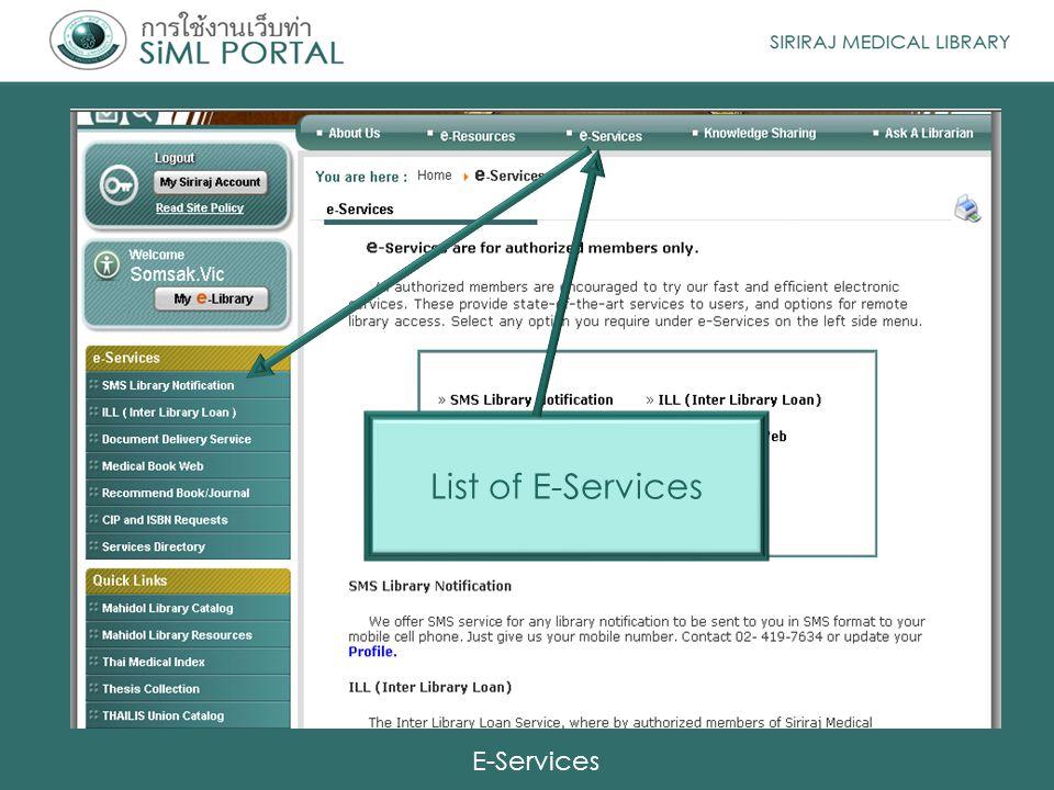 E-Services List of E-Services
