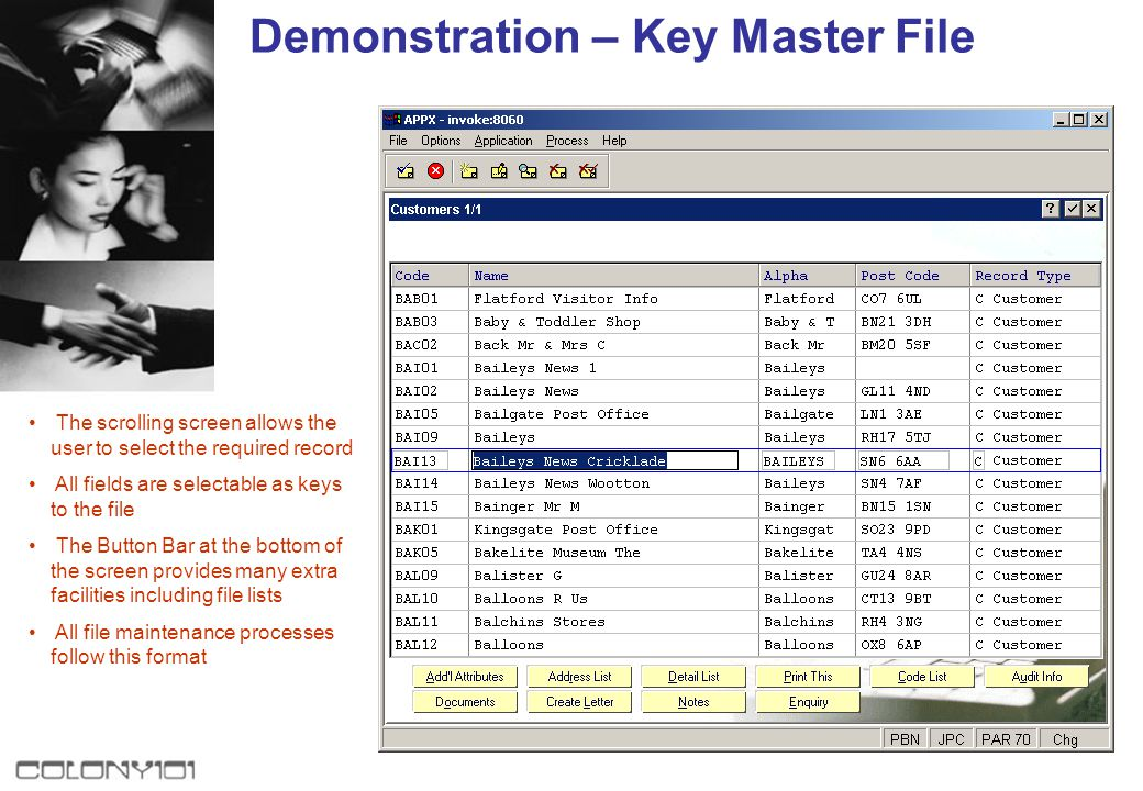 Demonstration - Parameters This single display combines the features of File Maintenance File Lists Period Processing Status Inquiry Close Period