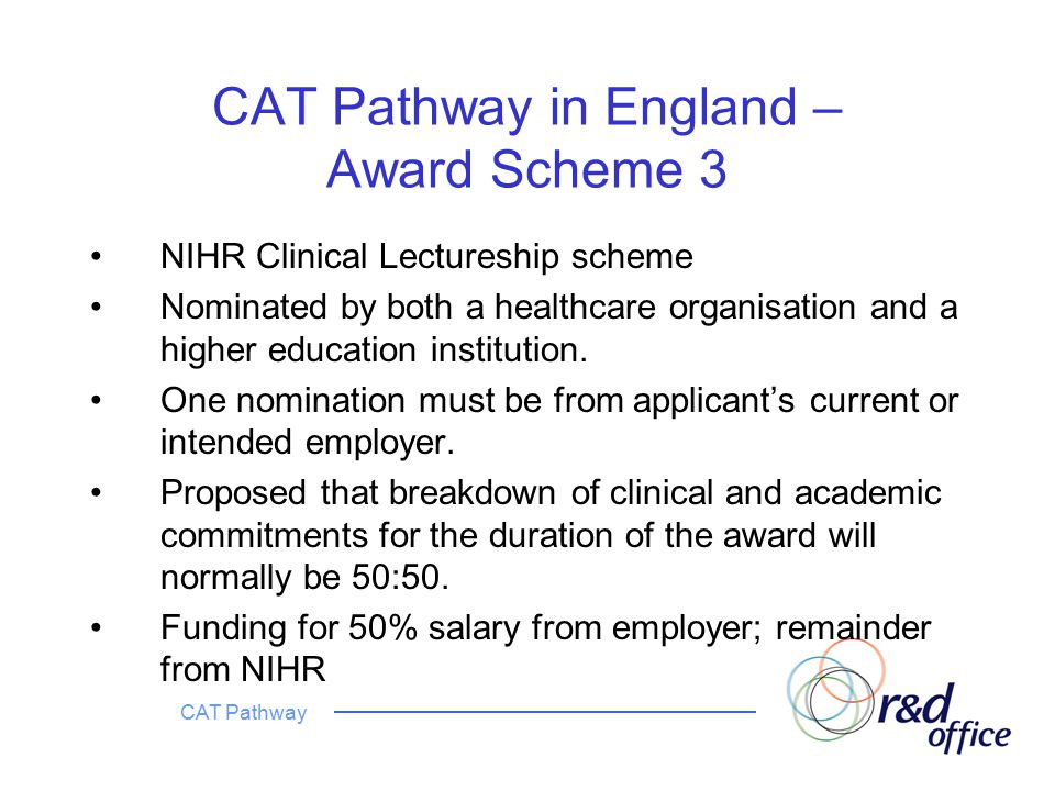 CAT Pathway CAT Pathway in England – Award Scheme 3 NIHR Clinical Lectureship scheme Nominated by both a healthcare organisation and a higher education institution.