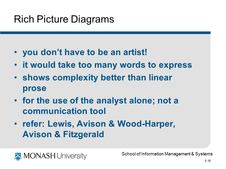 School of Information Management & Systems 9.18 Rich Picture Diagrams you don't have to be an artist.