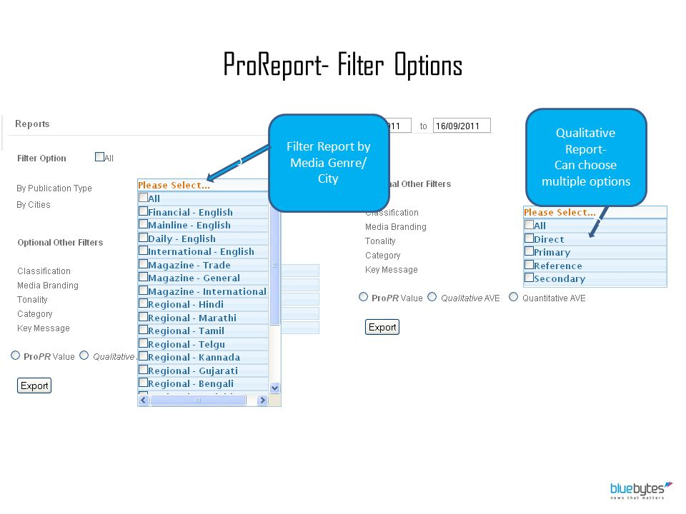 ProReport- Filter Options Filter Report by Media Genre/ City Qualitative Report- Can choose multiple options c c