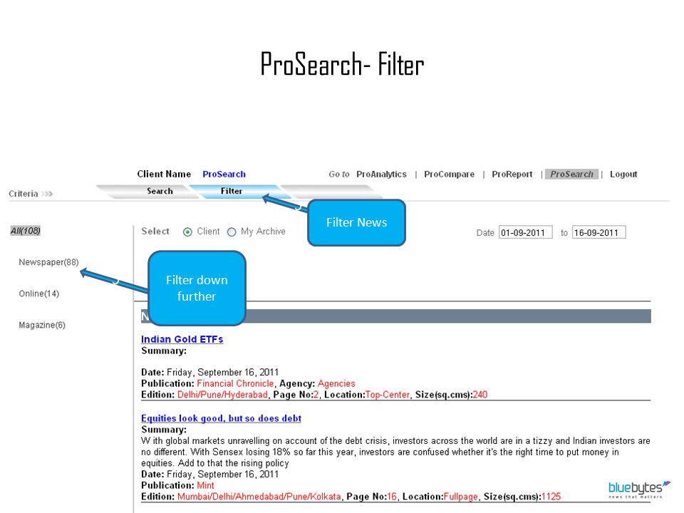 ProSearch- Filter c Filter News Filter down further c