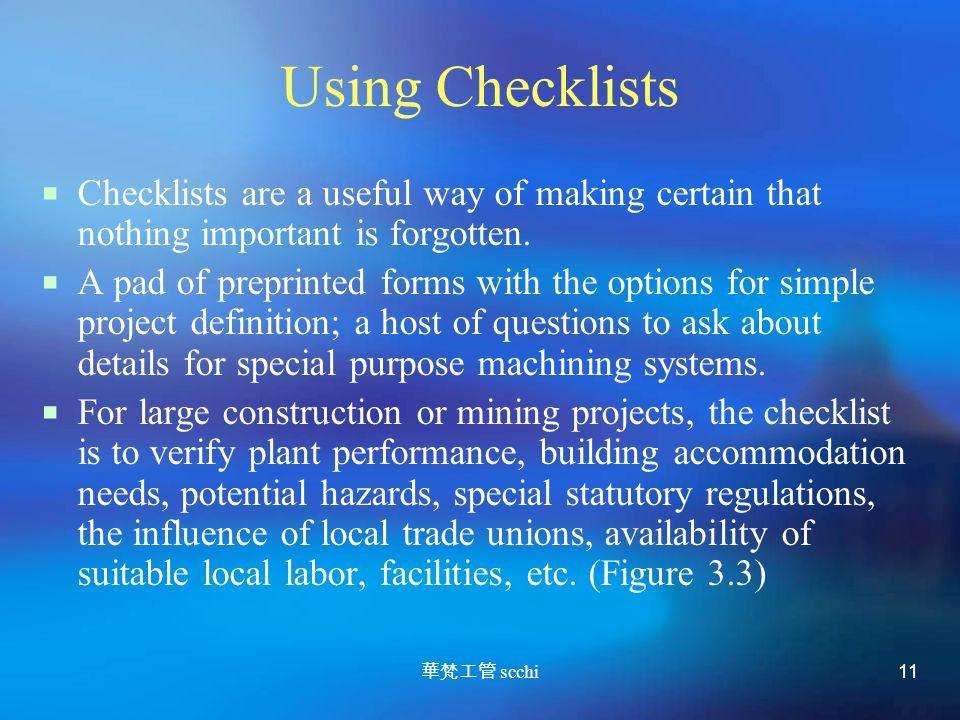 華梵工管 scchi 11 Using Checklists  Checklists are a useful way of making certain that nothing important is forgotten.