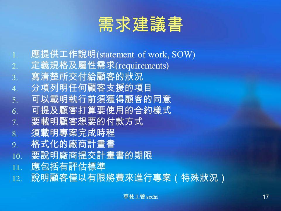 華梵工管 scchi 17 需求建議書 1.應提供工作說明 (statement of work, SOW) 2.