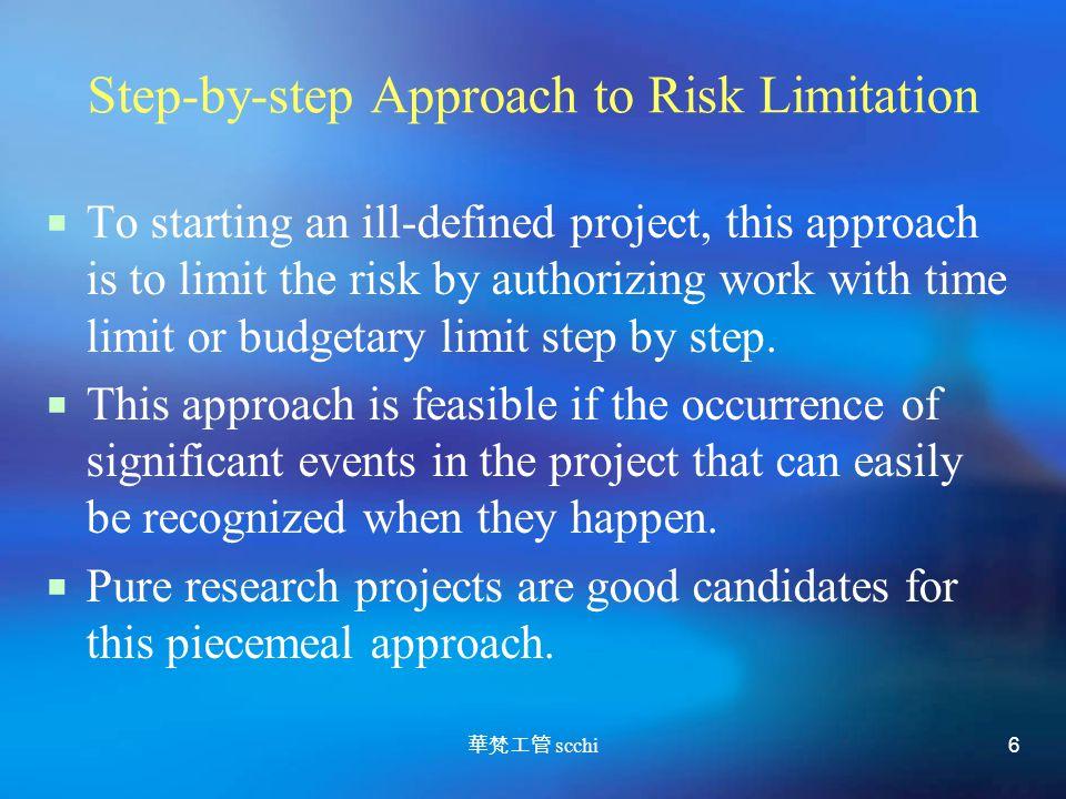 華梵工管 scchi 6 Step-by-step Approach to Risk Limitation  To starting an ill-defined project, this approach is to limit the risk by authorizing work with time limit or budgetary limit step by step.