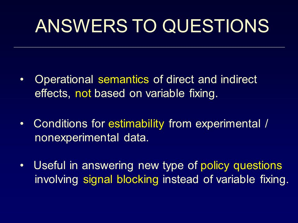 ANSWERS TO QUESTIONS Operational semantics of direct and indirect effects, not based on variable fixing.