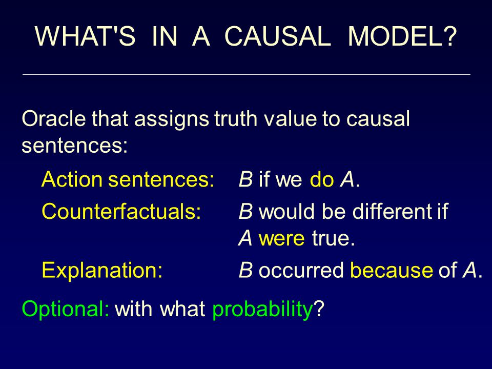 OUTLINE From probability to causal analysis: – The differences – The barriers – The benefits Assessing the effects of actions and policies Determining the causes of effects Distinguishing direct from indirect effects