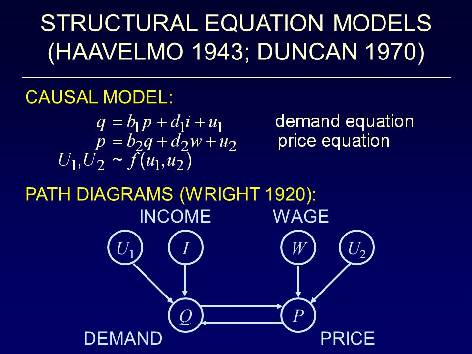 CAUSAL MODELS AND COUNTERFACTUALS Definition: A causal model is a 3-tuple M =  V,U,F  with a multilation operator do(x): M  M x where: (i)V = {V 1 …,V n } endogenous variables, (ii)U = {U 1,…,U m } background variables (iii)F = set of n functions, f i : V \ V i  U  V i v i = f i (pa i,u i ) PA i  V \ V i U i  U (iv)M x =  U,V,F x , X  V, x  X where F x = {f i : V i  X }  {X = x} (Replace all functions f i corresponding to X with the constant functions X=x) Definition (Probabilistic Causal Model):  M, P(u)  P(u) is a probability assignment to the variables in U.