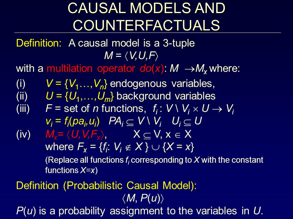 CONCLUSIONS From probability to causal analysis: – The differences – The barriers – The benefits Assessing the effects of actions and policies Determining the causes of effects Distinguishing direct from indirect effects Generating explanations