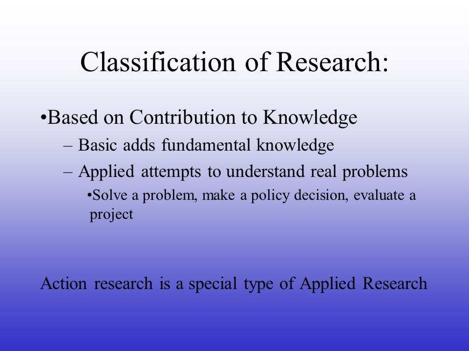 Classification of Research: Based on Contribution to Knowledge –Basic adds fundamental knowledge –Applied attempts to understand real problems Solve a problem, make a policy decision, evaluate a project Action research is a special type of Applied Research