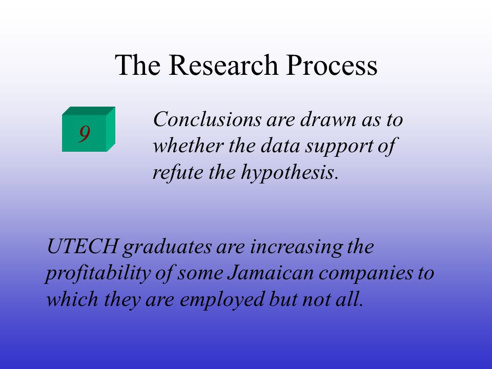 The Research Process 9 Conclusions are drawn as to whether the data support of refute the hypothesis.