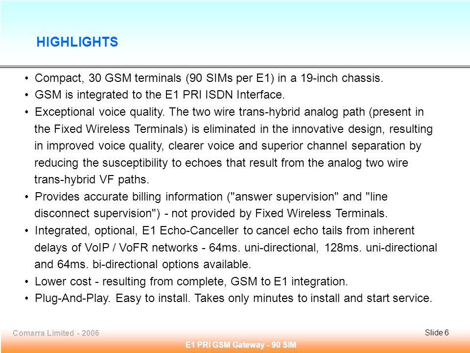 Slide 6Comarra Limited - 2006Slide 6 E1 PRI GSM Gateway - 90 SIM Compact, 30 GSM terminals (90 SIMs per E1) in a 19-inch chassis.