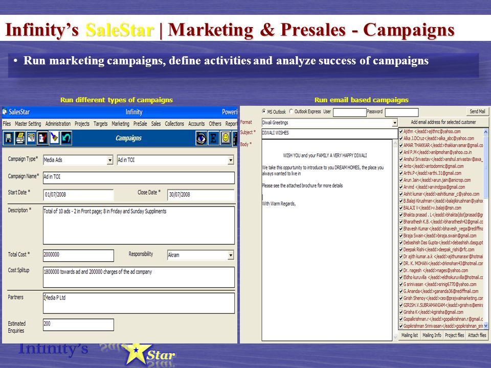 Infinity's SaleStar | Marketing & Presales - Campaigns Run marketing campaigns, define activities and analyze success of campaigns Run different types