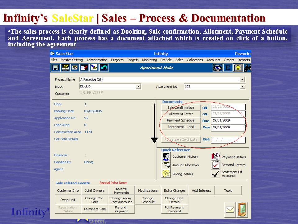 Infinity's SaleStar | Sales – Process & Documentation The sales process is clearly defined as Booking, Sale confirmation, Allotment, Payment Schedule and Agreement.