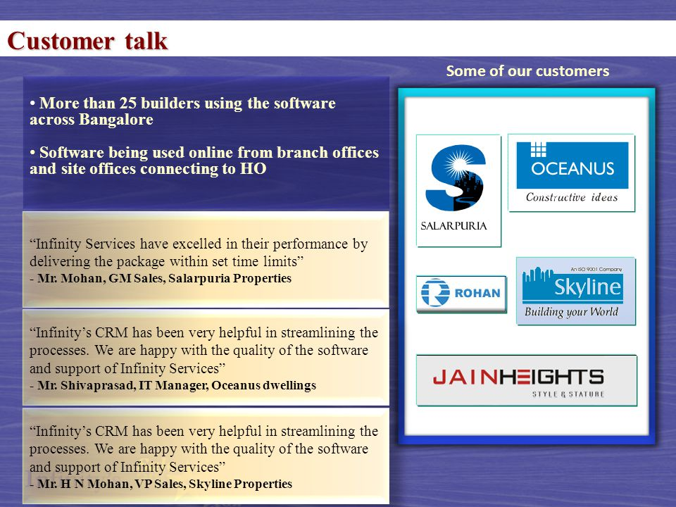 Customer talk More than 25 builders using the software across Bangalore Software being used online from branch offices and site offices connecting to