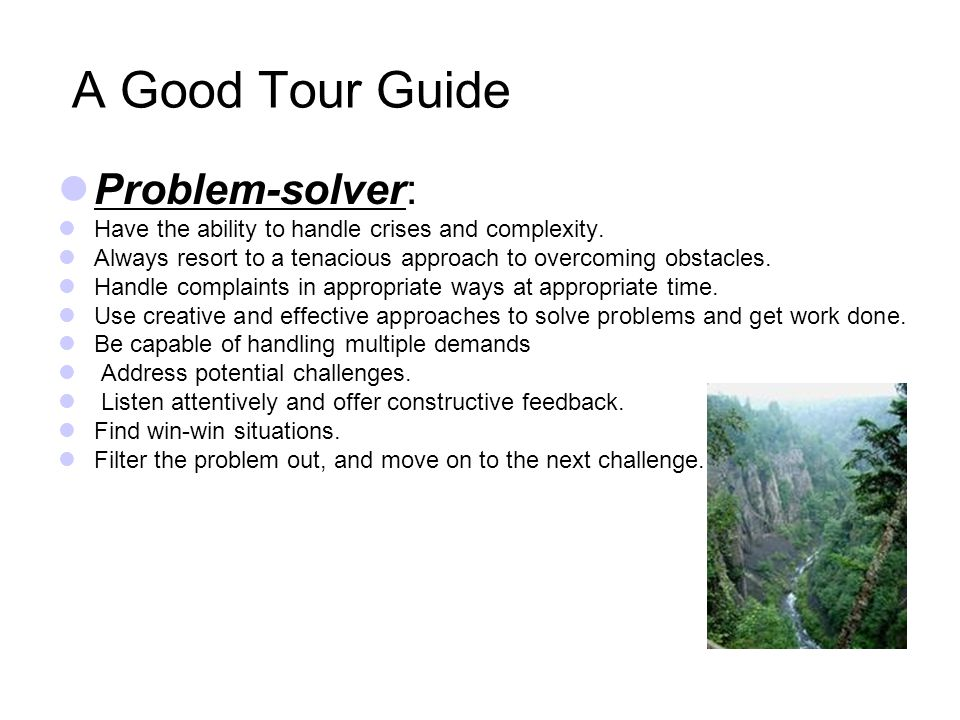 A Good Tour Guide Cooperation and Collaboration : Work with others harmoniously and efficiently.