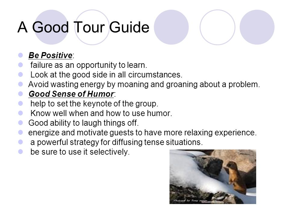 A Good Tour Guide Flexibility: Be Adaptable, capable of and receptive to change.
