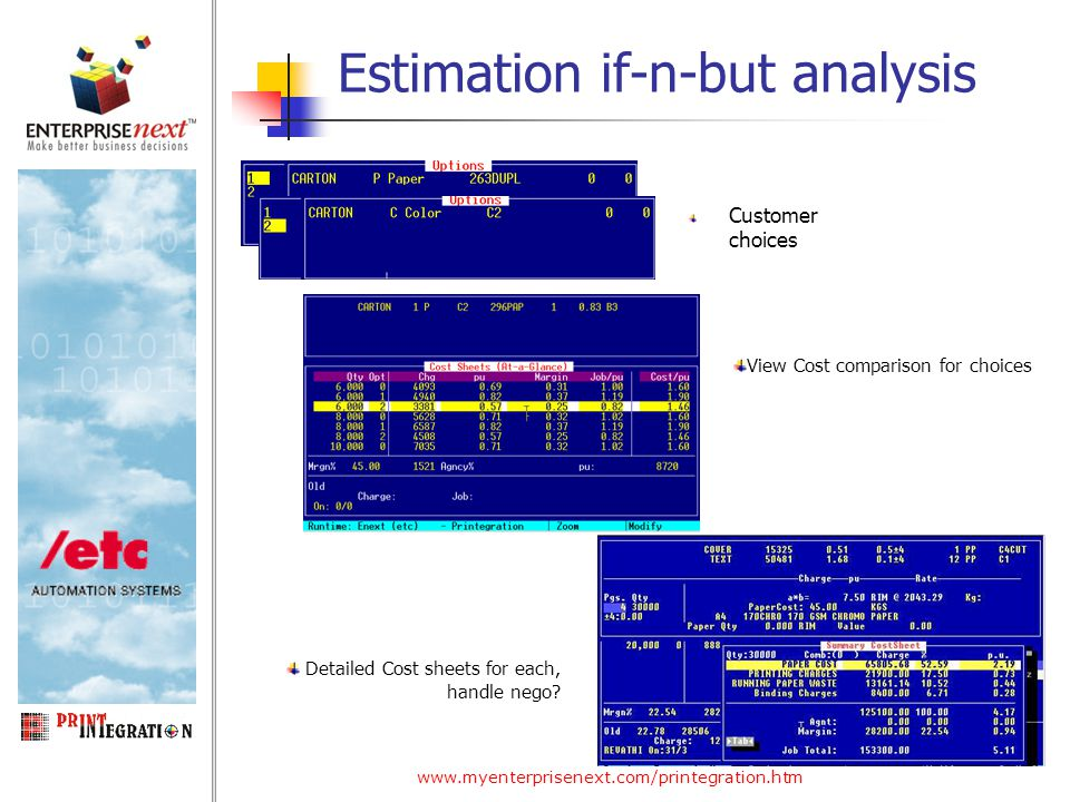 www.myenterprisenext.com/printegration.htm Estimation if-n-but analysis Customer choices View Cost comparison for choices Detailed Cost sheets for each, handle nego?
