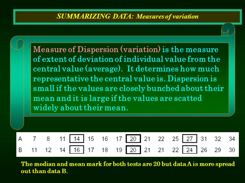 SUMMARIZING DATA: Measures of variation Measure of Dispersion (variation) is the measure of extent of deviation of individual value from the central v