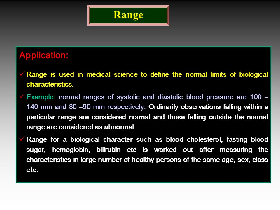 Range Application: Range is used in medical science to define the normal limits of biological characteristics. Example: normal ranges of systolic and