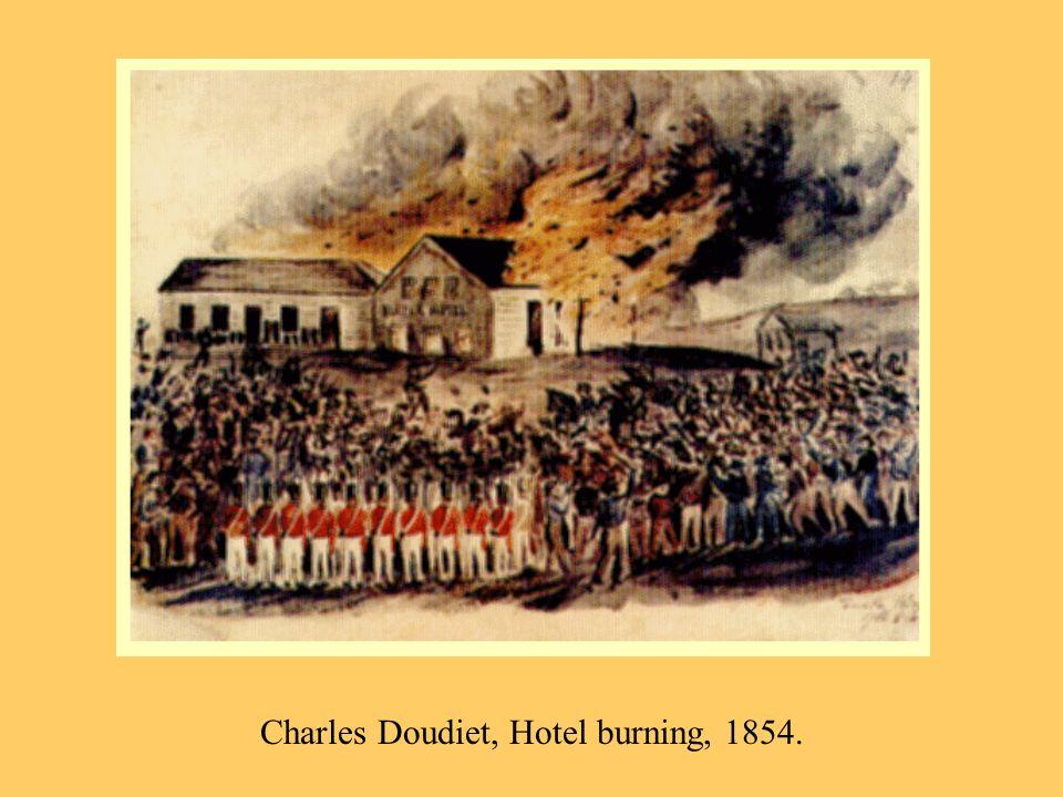 Charles Doudiet, Hotel burning, 1854.