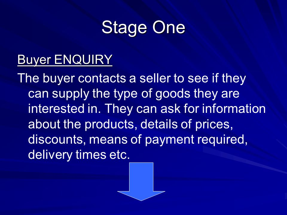 Stage One Buyer ENQUIRY The buyer contacts a seller to see if they can supply the type of goods they are interested in. They can ask for information a