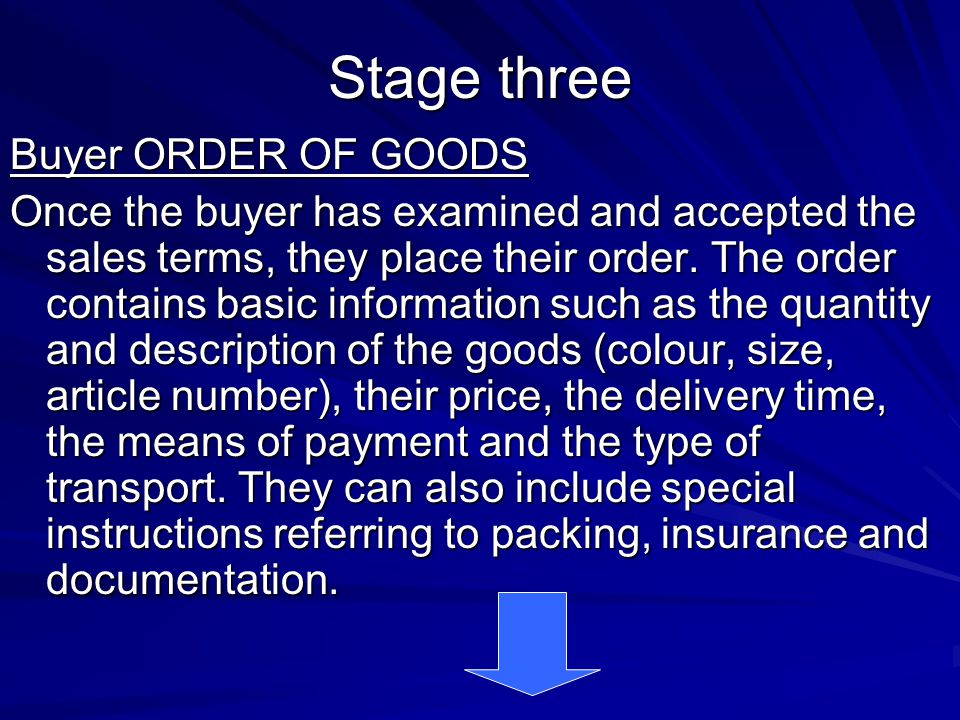 Stage three Buyer ORDER OF GOODS Once the buyer has examined and accepted the sales terms, they place their order. The order contains basic informatio