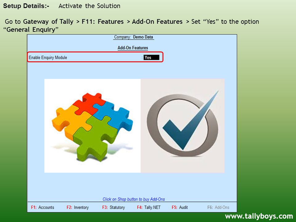 Setup Details:- Activate the Solution Go to Gateway of Tally > F11: Features > Add-On Features > Set Yes to the option General Enquiry www.tallyboys.com
